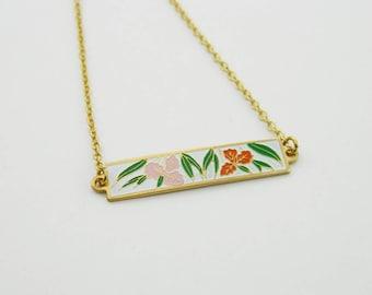 Vintage Tiki Hibiscus Print Bar Necklace
