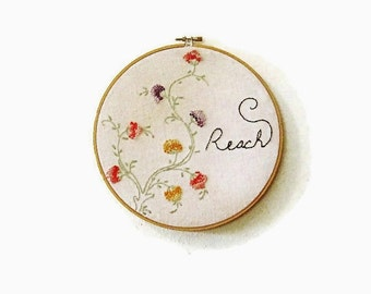 Embroidered hoop art  vintage floral vine reach