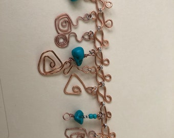 Copper and Turquoise Charm Bracelet