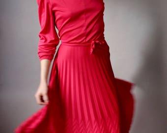Vintage Magenta Wrap Waist Dress