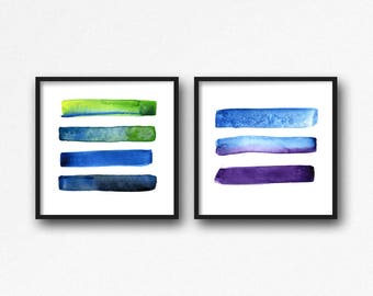Abstract Art Print Set of 2, Watercolour Painting, Kitchen Wall Art, Watercolour Modern Abstract Office Decor, Colourful Brush Strokes