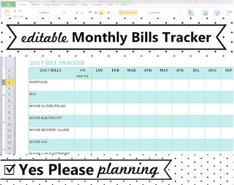 2018 monthly bill tracker u2013 home utilities bill payment log printable checklistu2013 editable excel spreadsheet