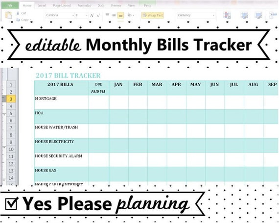 2018 Monthly Bill Tracker Home Utilities Payment Log