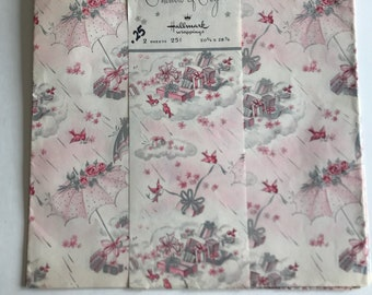 Showers of Joy Hallmark Vintage Wrapping Paper-Pink Gift Wrap-Vintage Gift Wrap-Baby Shower-Wedding Shower-Retro Wrapping Paper
