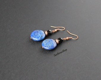 Blue gemstone earrings Lapis lazuli jewelry Dark blue earrings Black blue earrings Lapis lazuli earrings Blue stone earrings Copper fittings