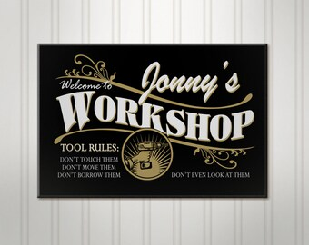 "Large Personalized Work Shop Sign, Custom Wood Workshop, Personalized Sign, Personalized Men's Tool Room, Mancave Name Sign, 18"" x 24"""