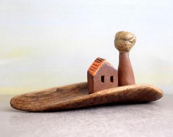 Miniature house, Rustic house, Ceramic house, Driftwood art, Ceramic miniature, Mediterranean art, Beach art, For him, Driftwood beach decor