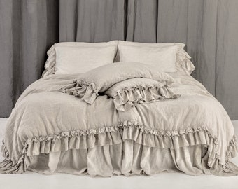Linen DUVET COVER.  NEW arrival from 2018. Rustic style linen bedding set with double ruffles. Made by mooshop new*98