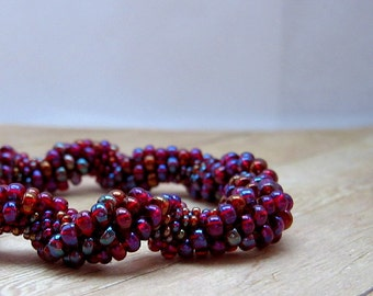 Purple Bead Crochet Bracelet, Crochet Beaded Jewelry, Seed Bead Jewelry, Beaded Bangle Bracelet