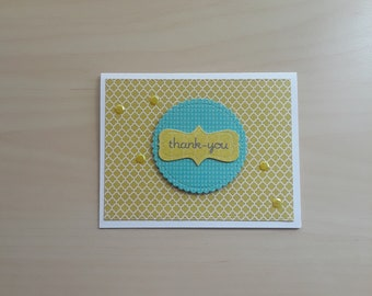 Thank you Card, Blank Thank You, Thank You Note Card, Yellow Note Card, Yellow Thank You, Dimensional Card, Dimensional Thanks