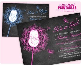 Girl Baby Shower Chalkboard Flower Invitation. Girl Baby Shower Chalkboard Floral Invite. Pink Baby Shower Invitation. DIY Printable Digital