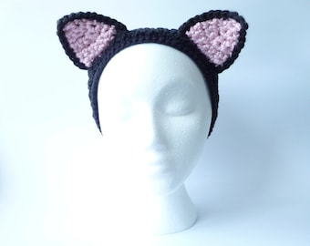 Headband Ear Warmer CROCHET PATTERN Cat Ears Headband Earwarmer Cosplay Cat Ears Cat Costume Cat Ear Hat Child Teen Adult Halloween Costume