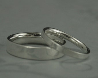 The Straight and Narrow Comfort Fit Sterling Silver Flat Wedding Set--Flat Edge Bands--His and Hers Bands--Simple Silver Wedding Bands