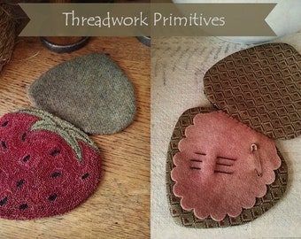Primitive Punch Needle Pattern - Strawberry Needlebook with Weaver's Cloth Included
