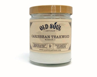 Caribbean Teakwood Soy Candle, Vegan Candle, Hand Poured Soy Candle, Scented Candle, Jar Candle