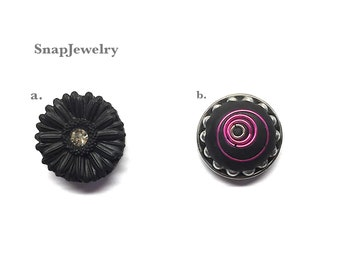 Snap Jewelry -  Snaps made with Apoxie Sculpt; Black Sunflower w/crystal, Hot pink jump rings