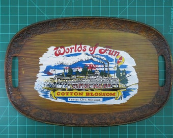 Cedar Fair Parks Kansas City's Worlds of Fun Vintage Souvenir Cotton Blossom Tray Amusement Park
