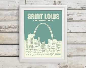 St. Louis Neighborhoods Poster, St. Louis Arch, Saint Louis, St. Louis, St Louis Poster, Typography, St. Louis Map, Arch, Missouri, Art
