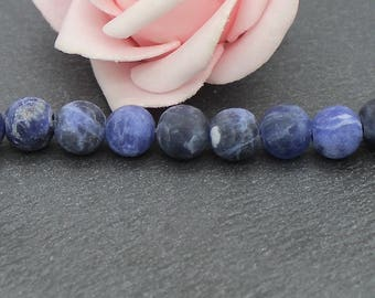 10 Blue 6 mm PG144 frosted sodalite beads