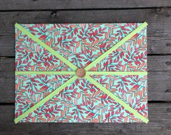 Green Floral Fabric Board w/ Green Ribbon (CP)