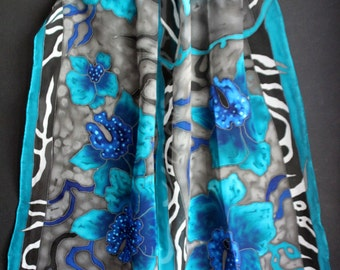 Grey hand painted silk scarf,Long large chiffon wrap,Gift for her,Batik,Blue silk scarf,Orchids,Blue flowers,Animal print,Etsy ASAP,Luxury