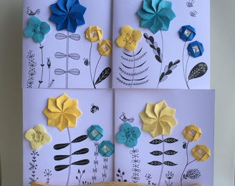 Handmade Origami Flower Greeting Card   Dahlia   *Sending Happy Thoughts Your Way*