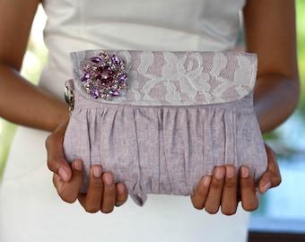 Light purple clutch purse, wedding clutch, linen and lace clutch with purple rhinestone brooch