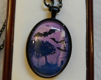 Halloween Gothic Bats Purple Oval Necklace  V4283   Ready to ship