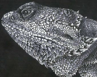 Weezie the Bearded Dragon Art Print