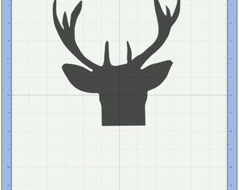 Buck deer head with antlers Cutting file. SVG & Scut3 file formats included. Sizzix / Cricut / eCal / Sure-Cuts-a-Lot