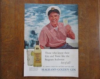 1955 Original Vintage Seagram's Golden Gin ad