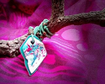 """Polymer Clay jewelry  pendant """"Africa"""" Self-adjusting Handmade Necklace  // Colgante artesanal de arcilla polimérica """"África"""" autoajustable"""