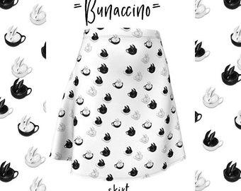 Bunaccino Flare Nerdy Casual Dress Bunny Cappuccino Coffee Lovers Skirt