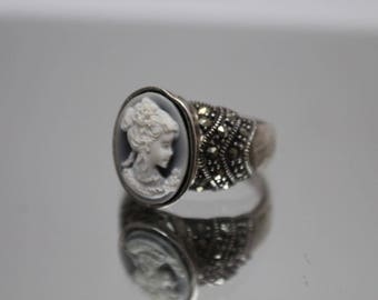 925 - Blue Carved Cameo in Marcasite Ring in Sterling Silver