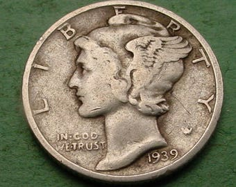 1939-S  Mercury Dime Very Good / Fine  FREE SH In United States # ET391
