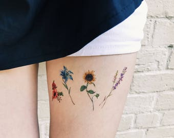 Flower Temporary Tattoos Set of 8, flower tattoos , lavender, rose, peony, lily, sunflower, pink, blue, red,yellow, handmade, gift