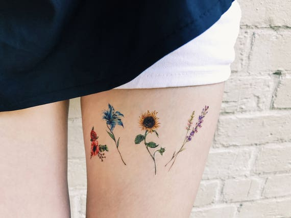 Flower temporary tattoos set of 8 flower tattoos lavender for Bath after tattoo