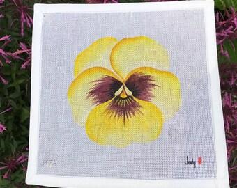 Yellow Pansy Needlepoint Canvas Jody Designs #J47A