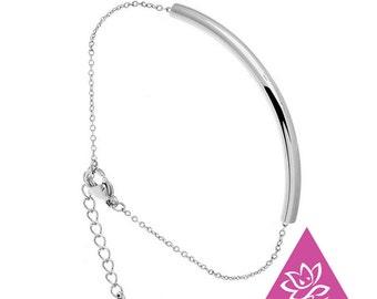 Bracelet titanium ring chain end - tube chic basic hypoallergenic sensitive skin