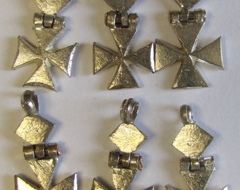 6 Wholesale Ethiopian Cross 28mm Hinged Silver Color African Dangle Trade Bead Britz Beads Supply