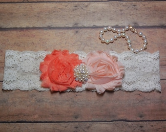Blush Garter, Coral Garter, Garter, Wedding Garter, Wedding, Blush Wedding, Blush and Coral, Keepsake Garter, Brides Garter, Lace Garter