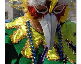 Carnival Reveler in Bird Mask Photograph
