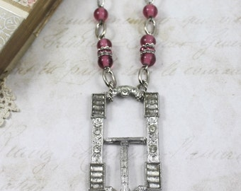 Art Deco Buckle Assemblage Necklace, Vintage Assemblage Art Deco Paste Buckle Necklace with Dark Pink Glass Beads and Silver Chain