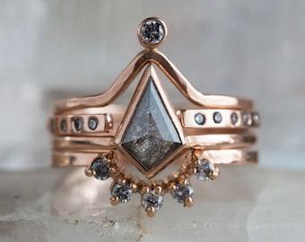 Natural Rose Cut Geometric Diamond Ring