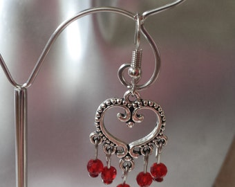 "Earrings ""heart and red beads"""