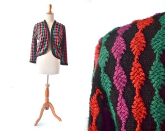christmas sweater, 1960s Sweater, black 60s Sweater, 1960s Cardigan, 60s Cardigan, Colorful Sweater, Red, Green Purple, Unique Sweater