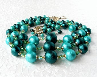 Chunky Vintage Beaded Necklace Big Teal Aqua Arcadia Green Paper Mache Bead Crystal 3 Strand Multi 60s Costume Jewelry Cocktail Prom Stage