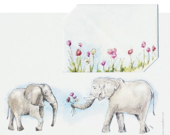 Instant Download Elephants & Flowers, Watercolor Origami Envelope+Letter, Anniversary Card,  Watercolor Greeting Card, Blue, Pink, Red