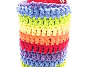 Rainbow Striped Crocheted Can Cover