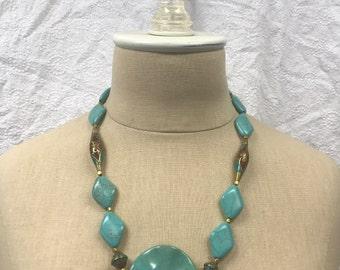 Turquoise + Nepal Beaded Necklace